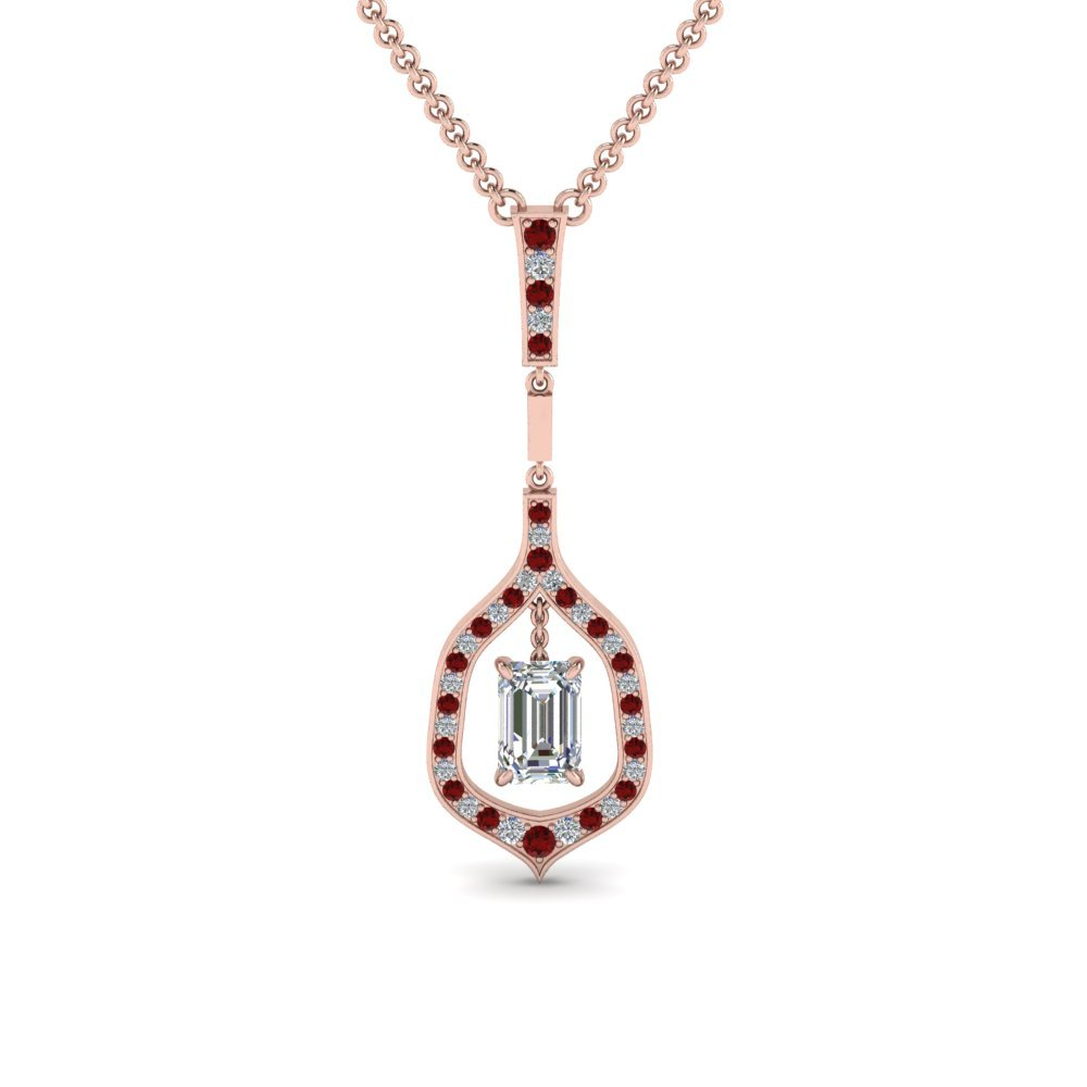 Drop Diamond Necklace With Ruby