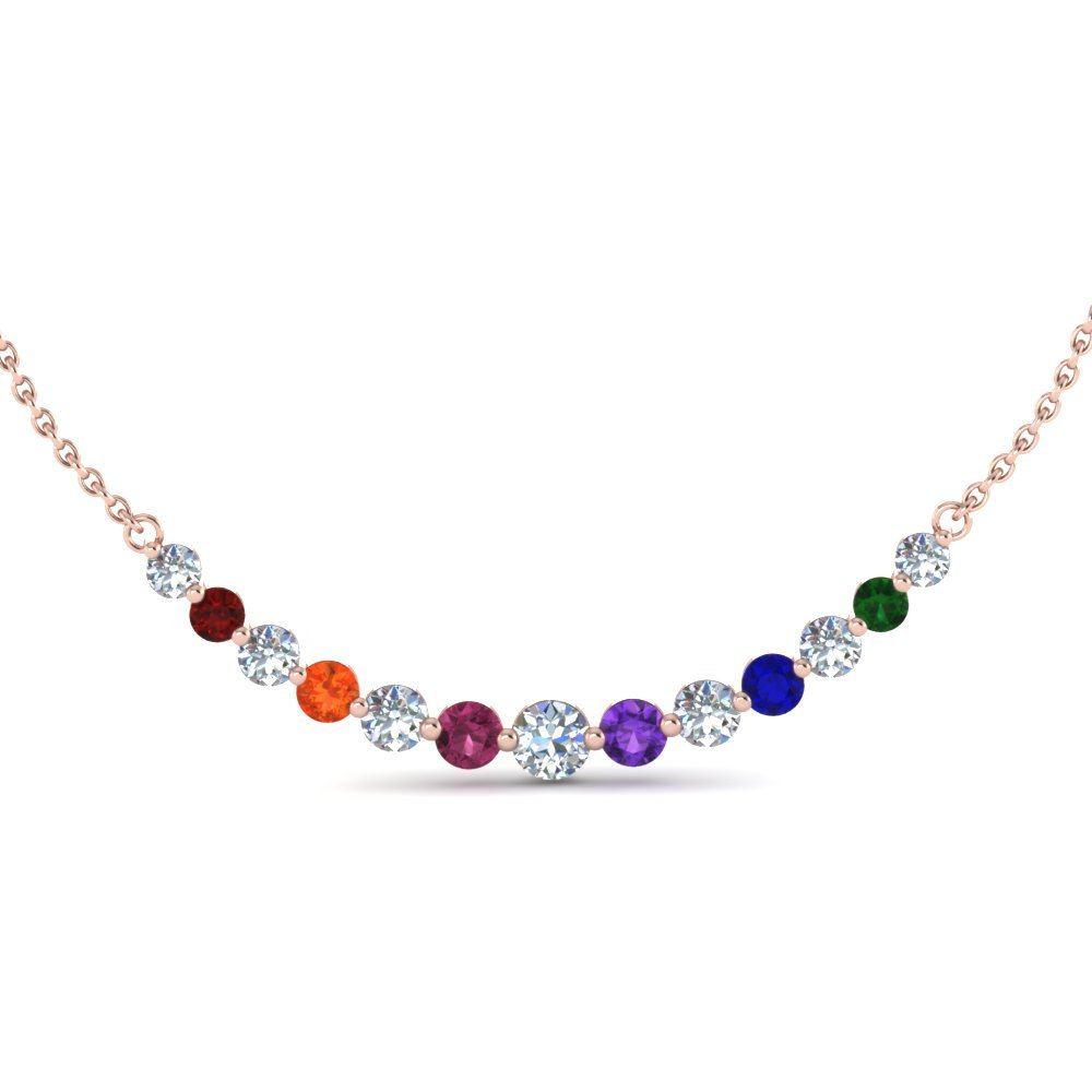Floating Graduated Gemstone Necklace For Mom In 14K Rose Gold