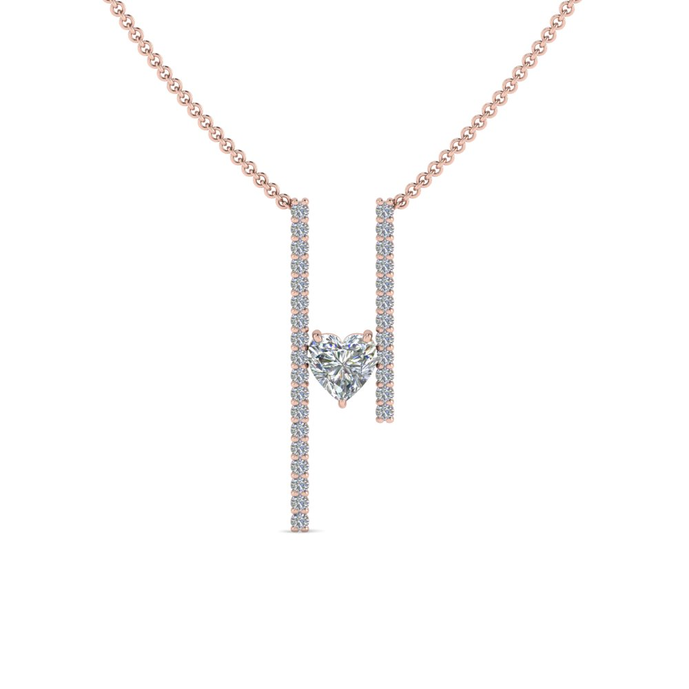 Floating Heart Diamond Bar Necklace