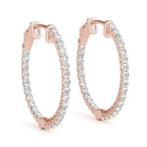 Floating Inside Out Hoop Earring In 14K Rose Gold