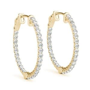 Floating Inside Out Hoop Earring In 18K Yellow Gold