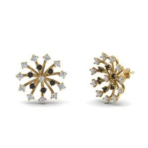 Black Diamond Gold Stud Earring