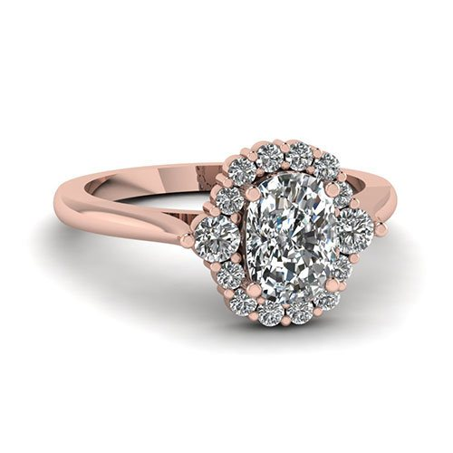 Floral Halo 3/4 ct. Cushion Diamond Ring