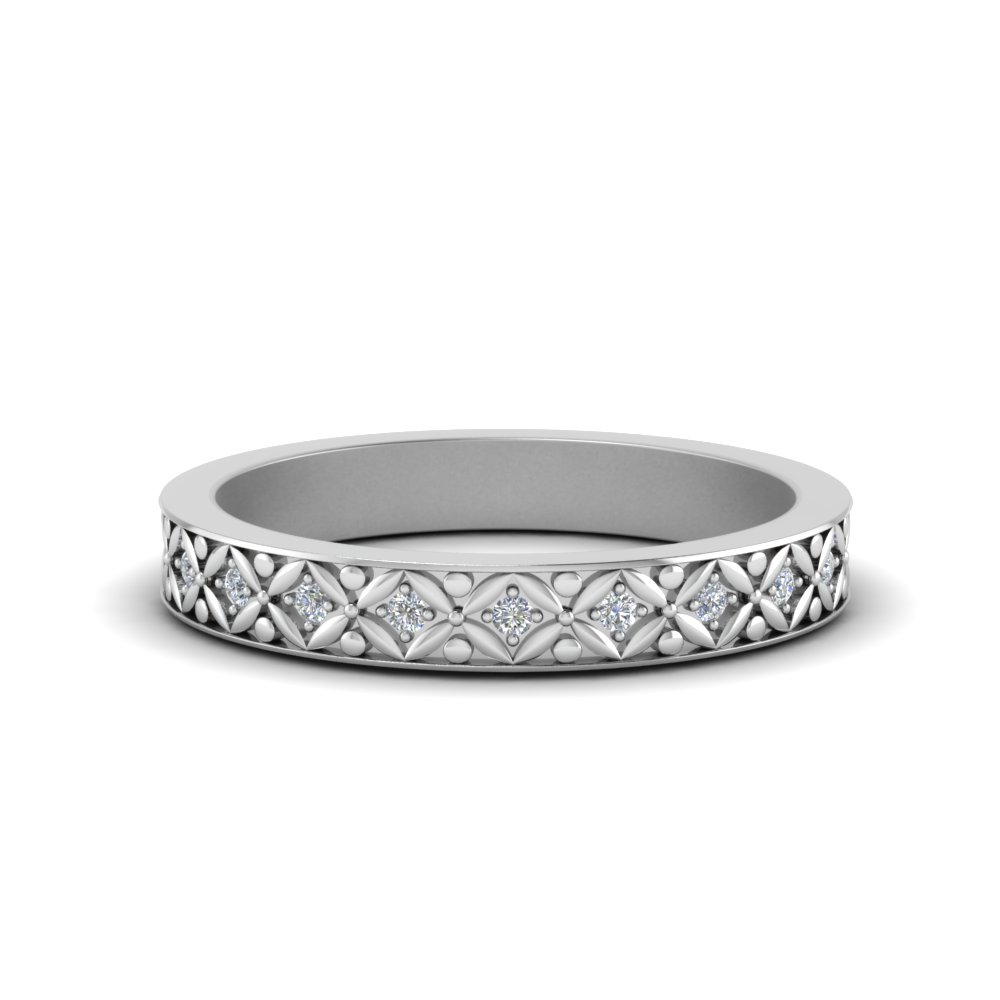 Floral Carved Diamond Eternity Band In 14K White Gold