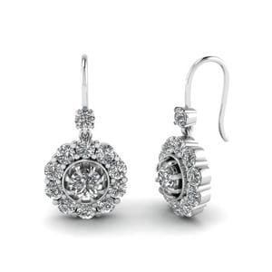 Floral Diamond Dangle Earring In 14K White Gold