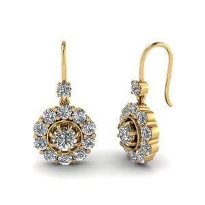 Floral Diamond Dangle Earring In 14K Yellow Gold