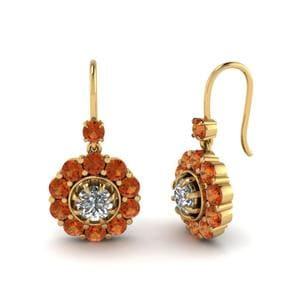 Floral Diamond Dangle Earring With Orange Sapphire In 14K Yellow Gold