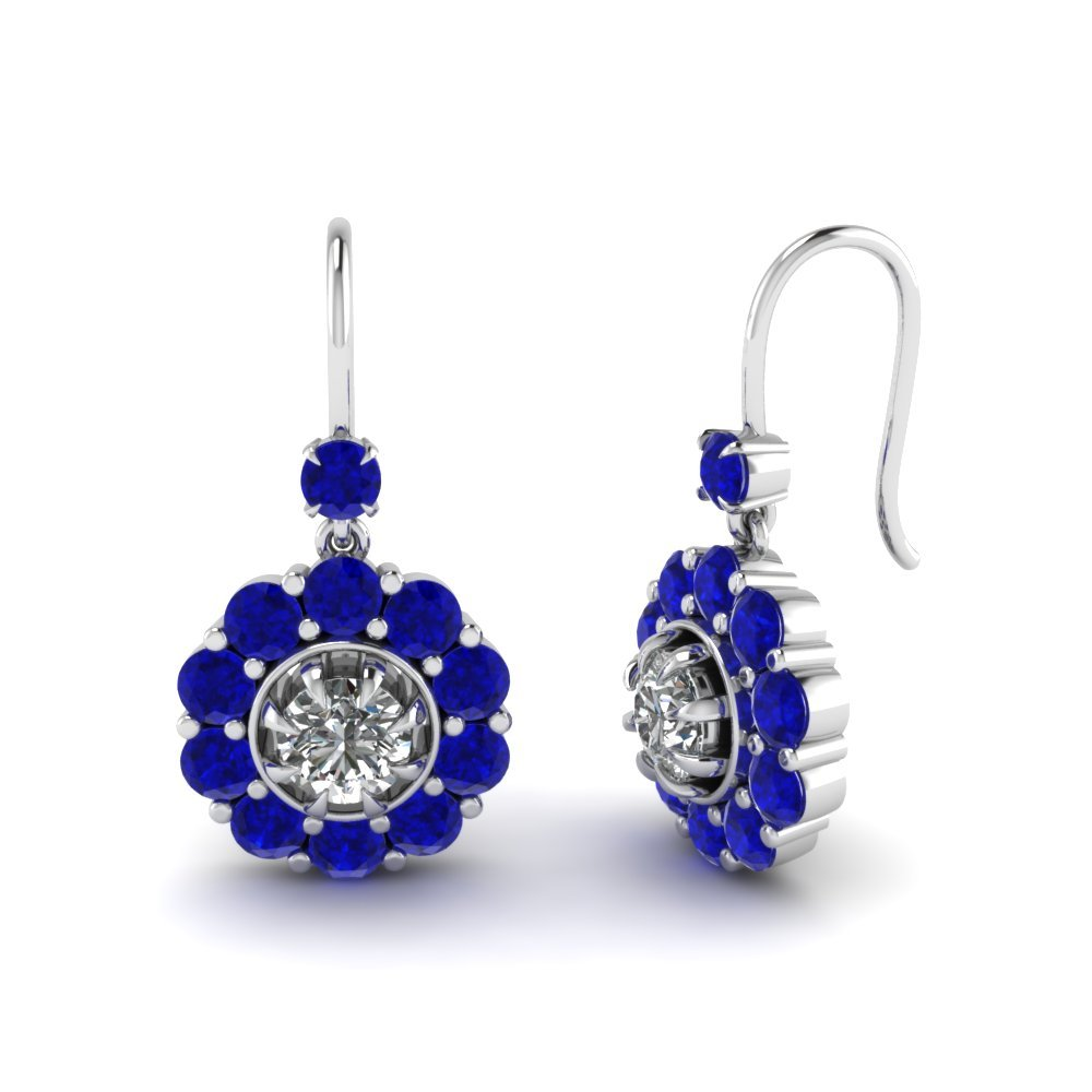 Floral Diamond Dangle Earring With Sapphire In 14K White Gold