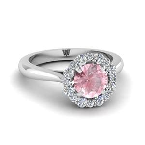 Platinum Halo Morganite Ring