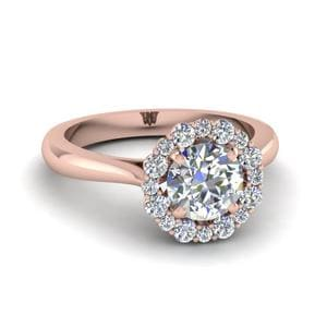 18K Pink Gold Floral Halo Ring
