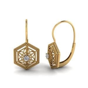 Floral Leverback Diamond Dangle Earring In 14K Yellow Gold