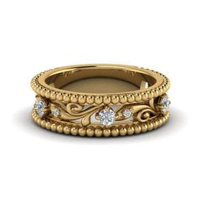 Floral Milgrain Diamond Band In 14K Yellow Gold
