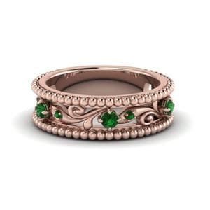 Floral Pattern Emerald Band