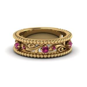 Antique Style Pink Sapphire Band