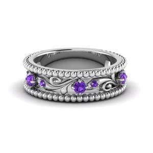 Milgrain mothers Purple Topaz Band