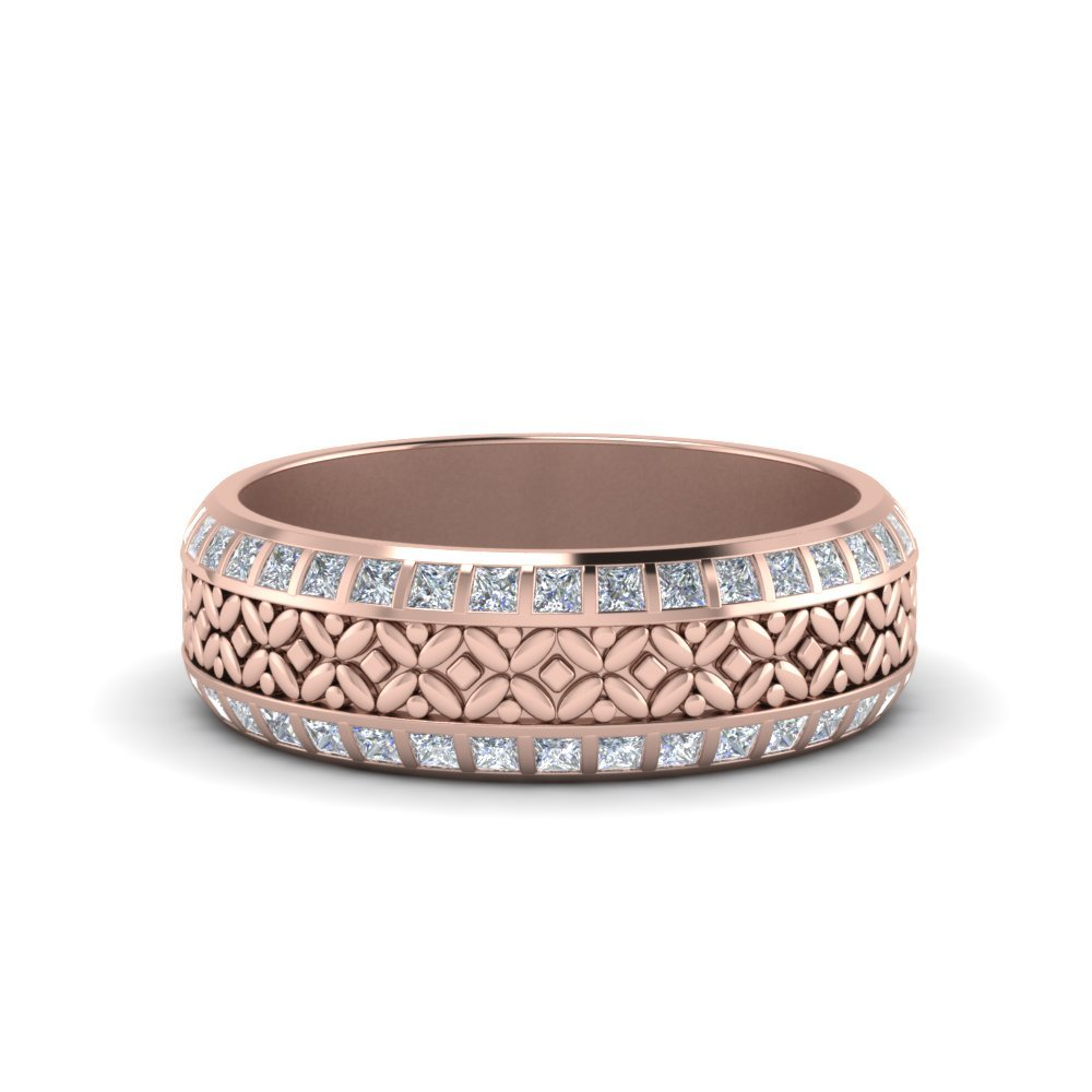 Floral Mom Diamond Band Ring Gifts In 14K Rose Gold