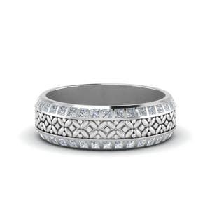 Floral Mom Diamond Band Ring Gifts In 14K White Gold