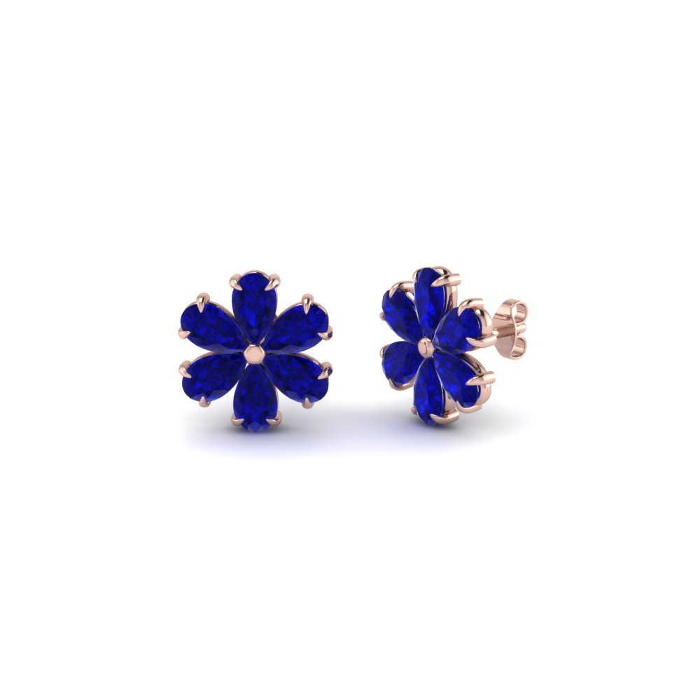 Floral Pear Stud Sapphire Earring