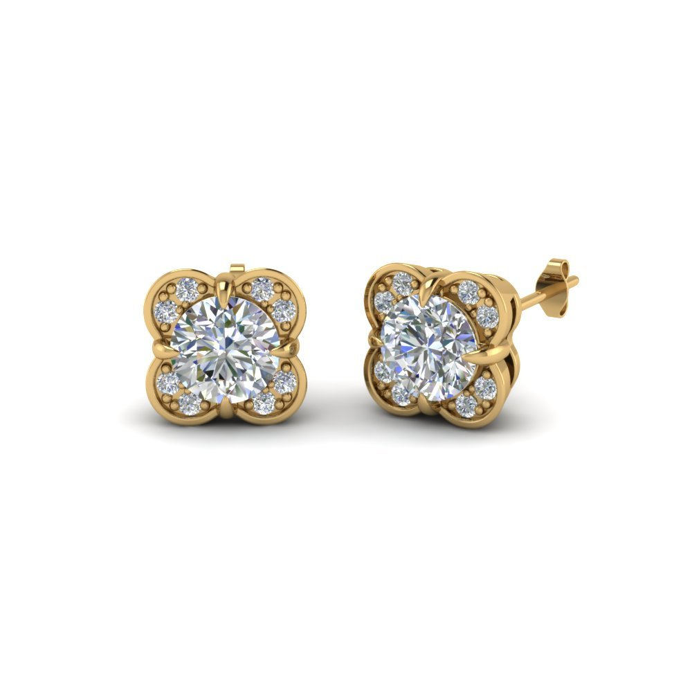 Floral Stud Diamond Earring Gift In 14K Yellow Gold
