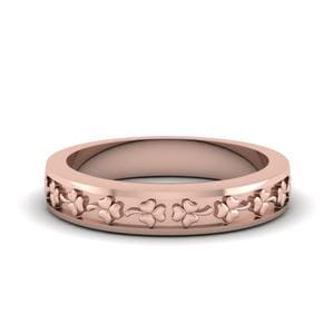 Flower Carved Wedding Band For Women In 18K Rose Gold