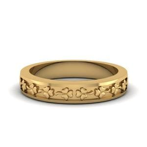 Flower Carved Wedding Band For Women In 14K Yellow Gold