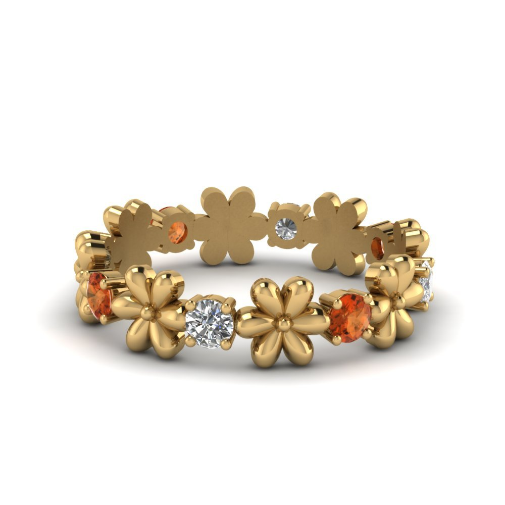 Orange Sapphire Flower Diamond Band