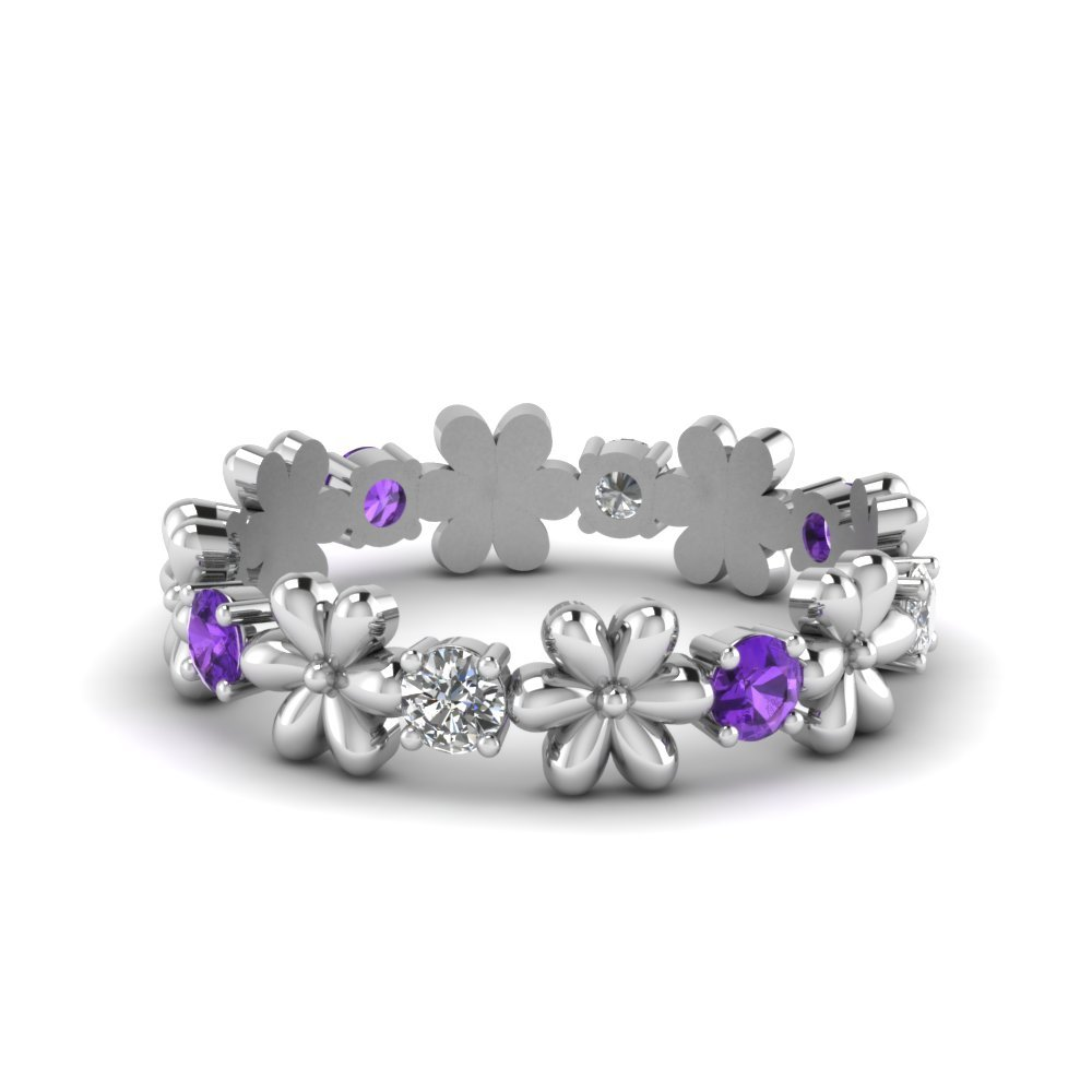 Purple Topaz Diamond Band
