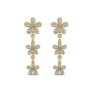 Flower Diamond Drop Earring