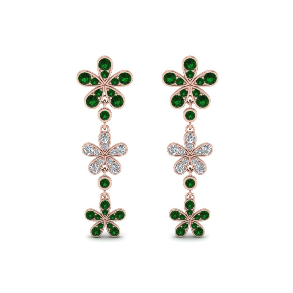 Emerald Flower Drop Earrings