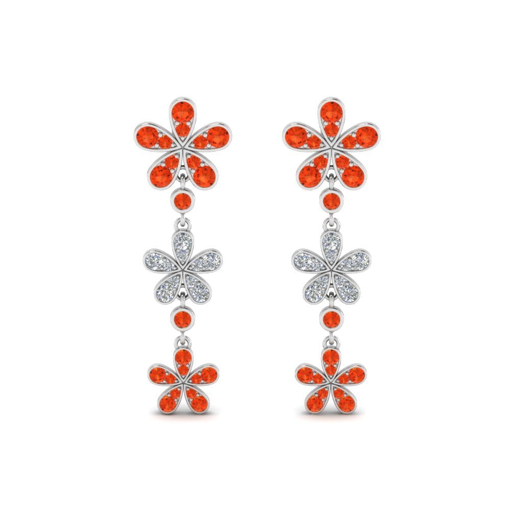 Floral Orange Topaz Earrings