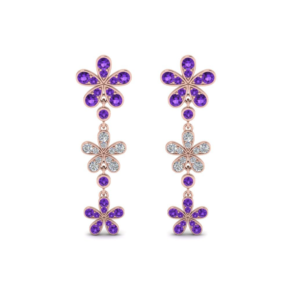Flower Drop Earring With Purple Topaz