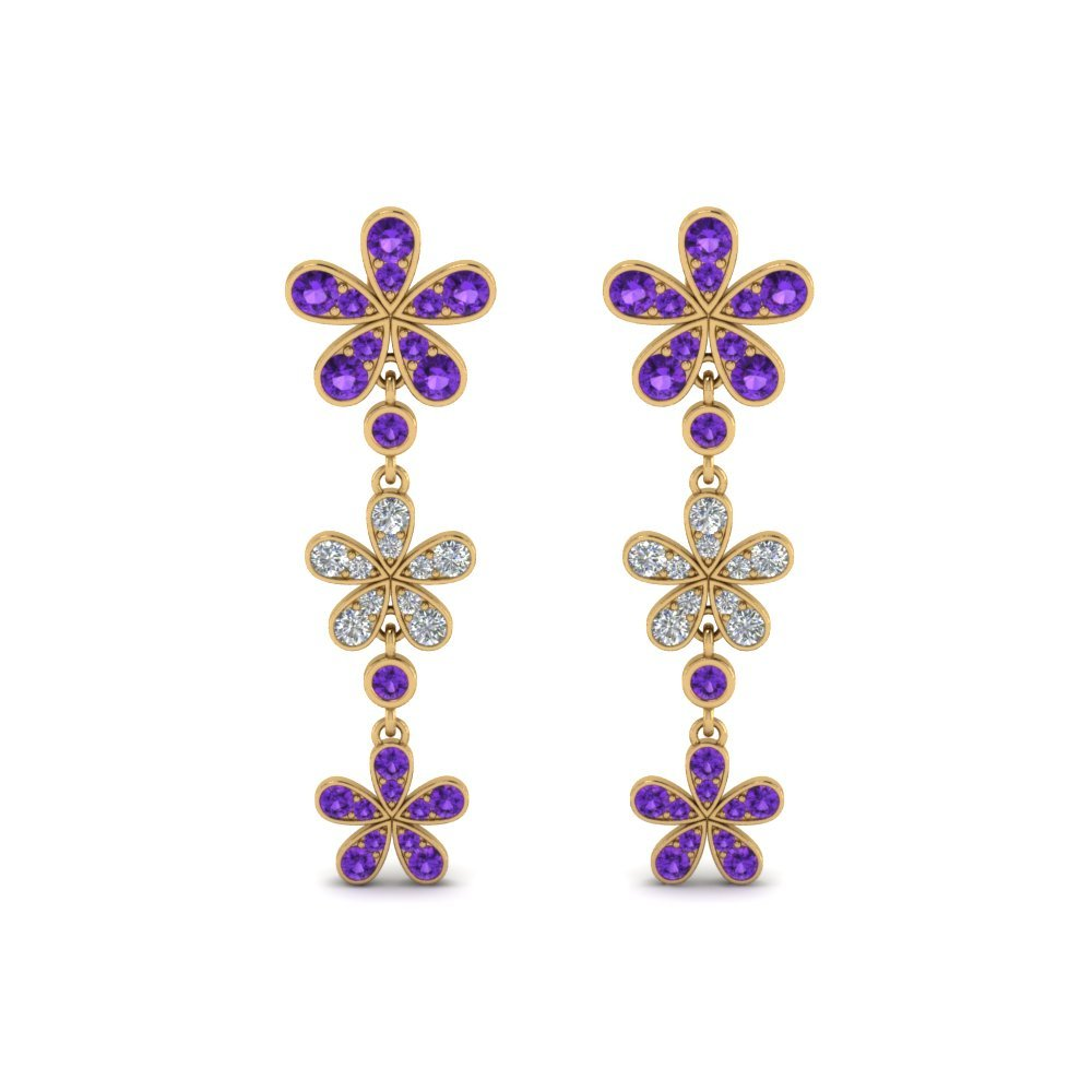Drop Earrings Purple Topaz