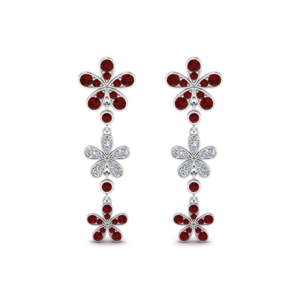 Ruby Flower Drop Earrings