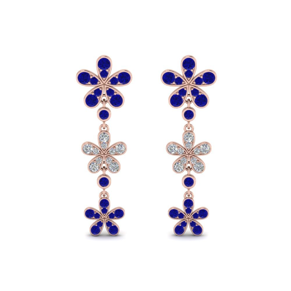 Flower Sapphire Drop Earrings