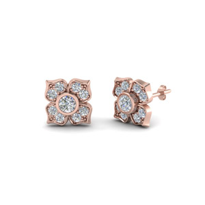 Floral Diamond Stud Earring
