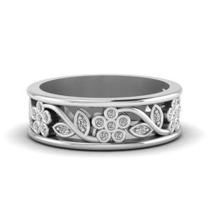 Flower Diamond Wide Nature Inspired Band For Women In 14K White Gold