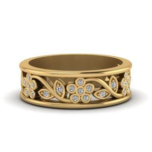 Flower Diamond Wide Nature Inspired Band For Women In 14K Yellow Gold