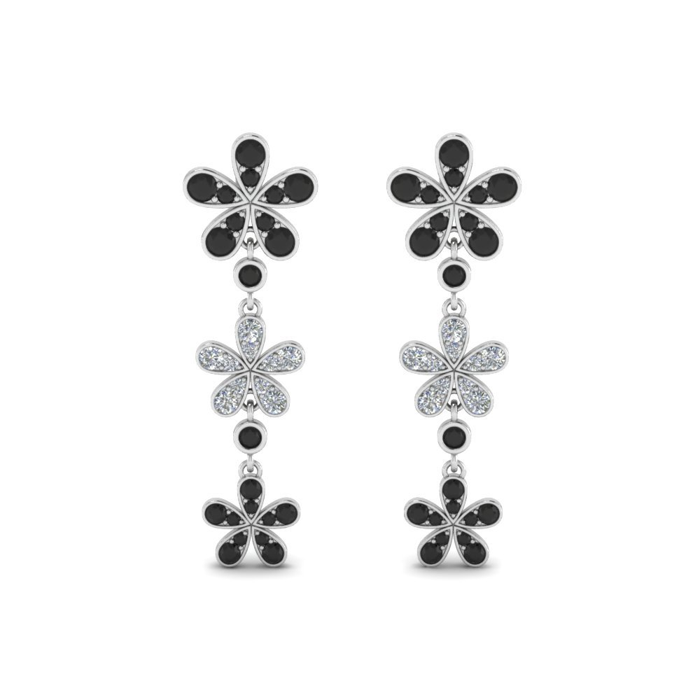 Flower Black Diamond Earrings