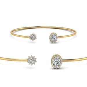 Flower Open Cuff Diamond Bracelet