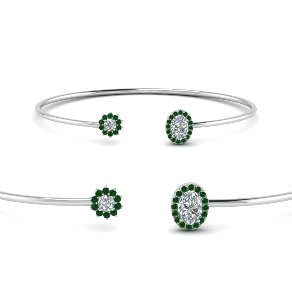 Emerald  Open Cuff Diamond Bracelet