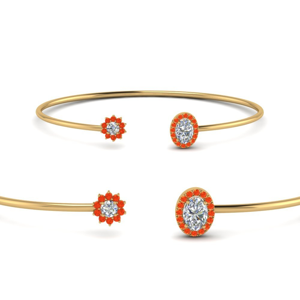 Orange Topaz Diamond Bracelet