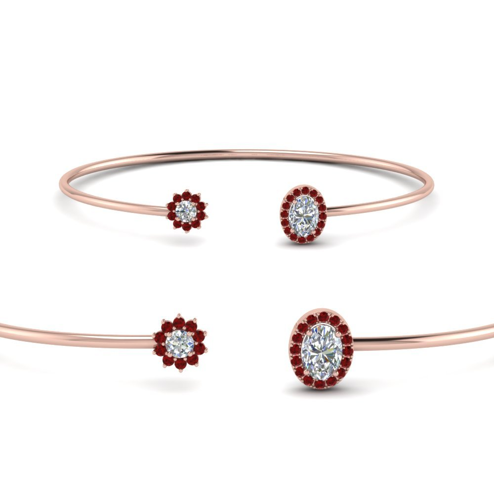 Open Cuff Ruby Diamond Bracelet