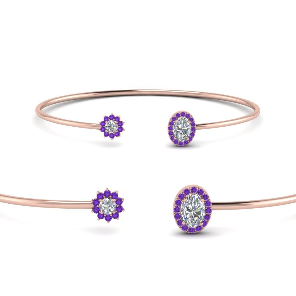 Purple Topaz Flower Diamond Bracelet