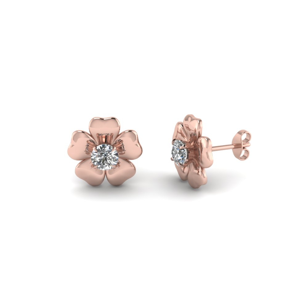 Flower Stud Nature Inspired Earring In 14K Rose Gold
