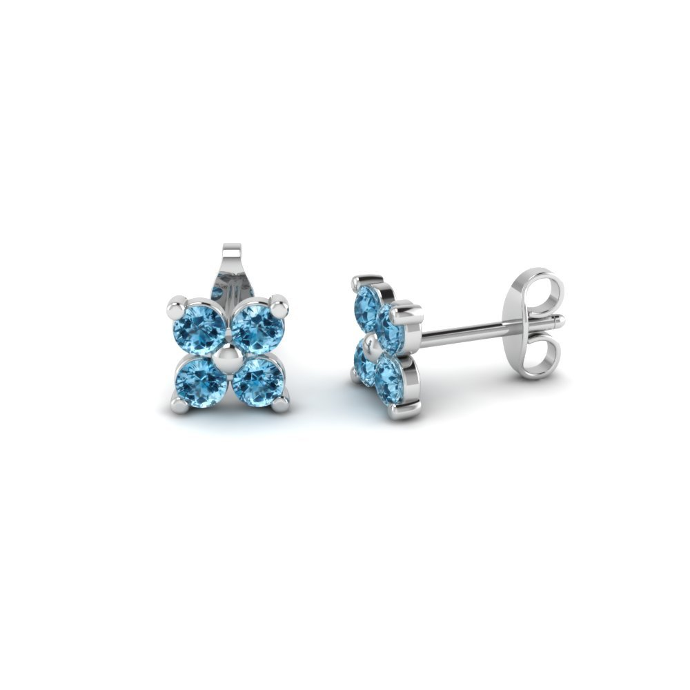 Four Petals Flower Stud Topaz Earring