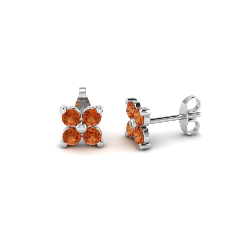 Four Petals Flower Orange Sapphire Earring