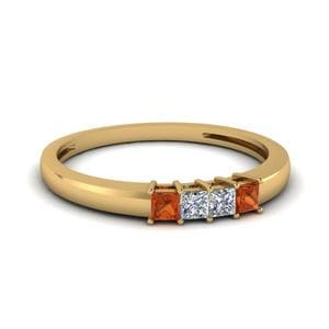 Four Stone Orange Sapphire Band
