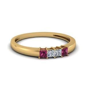 Four Stone Diamond Anniversary Wedding Women Band With Pink Sapphire In 14K Yellow Gold