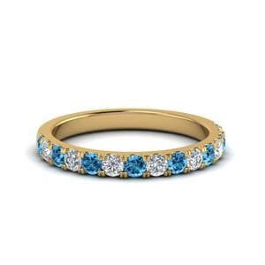 Wedding Band With Blue Topaz