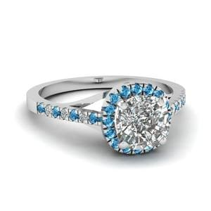 French Pave Blue Topaz Ring